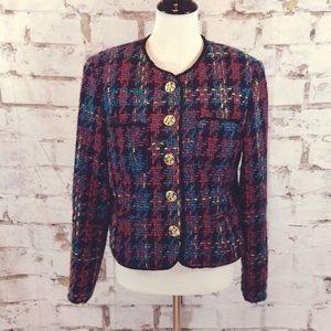 Pamela B plaid vintage blazer with gold buttons